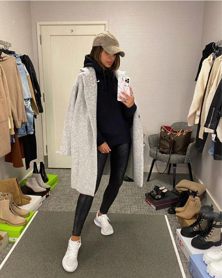 Casual fall outfit  Nike white sneakers - run TTS Spanx faux leather leggings  Nike hoodie   #LTKstyletip #LTKfit #LTKshoecrush