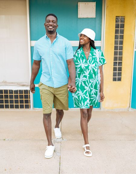 Father's Day outfit for dad! Palm print button down dress, white strappy sandals, striped button down shirt and olive green shorts. Couples outfit!  #LTKunder50 #LTKmens #LTKtravel