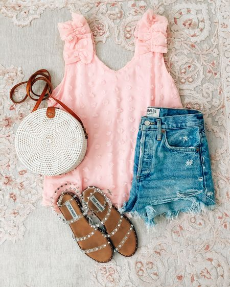 Amazon outfit: pink top runs a little big http://liketk.it/3iiEU #liketkit @liketoknow.it  Amazon tops Amazon finds Amazon pink top Amazon Swiss dot top Amazon tank