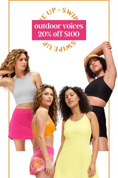 Sale alert! 20% off $100 at Outdoor Voices! Workout outfit skort excersize dress sports bra http://liketk.it/3hjoO #liketkit @liketoknow.it #LTKDay #LTKsalealert #LTKfit