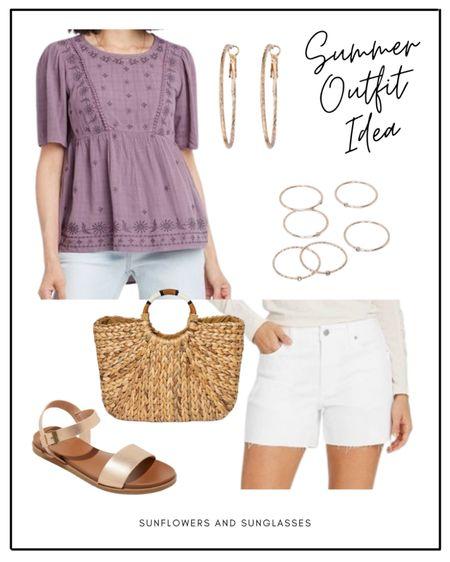 Summer Outfit Idea from Target.  #summeroutfit #babydolltop #whiteshorts #rosegoldsandals #hoopearrings #stackablerings #purpletop #targetfinds #summeroutfits  #LTKshoecrush #LTKstyletip #LTKunder50