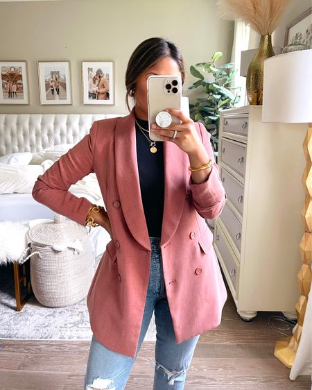 How cute is this longline blazer from @gibsonlook! I always go down one size in oversized blazers and jackets! This color is so pretty, but it also comes in grey. Take 15% OFF with code: HAUTE15 … #gibsonlook #blazer #eletricpicks #mockneck #fallstyle #falloutfit   #LTKunder100 #LTKstyletip #LTKsalealert