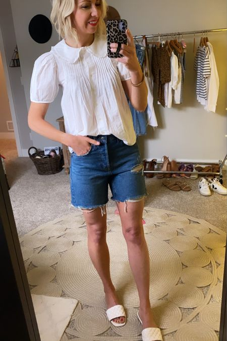 #liketkit @liketoknow.it http://liketk.it/3gjLo  Memorial Day outfit idea... White blouse, denim shorts + white sandals  Add a red lip to compete this look #LTKunder50 #LTKshoecrush #LTKstyletip