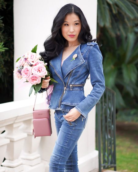Denim on Denim! You will love this denim peplum Moto jacket from White House Black Market! The zippered detail on the denim jacket makes the jacket really pop in style! I love pairing it with denim jeans and an organizational purse in pink! http://liketk.it/377PT #liketkit @liketoknow.it  #motojacket #denimjacket #motodenimjacket #whbmstyle #whitehouseblackmarket