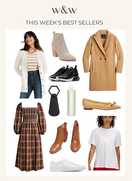 This week's bestsellers  Madewell cardigan Marc fisher ankle boots J.Crew coat Nike sneakers Top Tote for traveling with hats Chic flats Madewell ankle booties  Caudalie toner Lululemon top J.Crew plaid dress  Common Projects sleek white sneakers  #LTKSeasonal