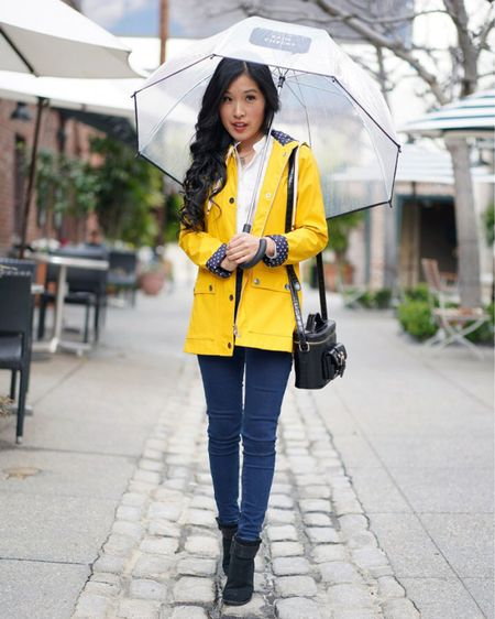 Rain alert in Los Angeles, CA! Yellow raincoat and a Kate Spade rain check clear umbrella! Cute raincoat- check, clear umbrella - check, and some blue jeans + rain boots! Cute rain look! http://liketk.it/378uO #liketkit @liketoknow.it #yellowraincoat #cuteraincoat #rain