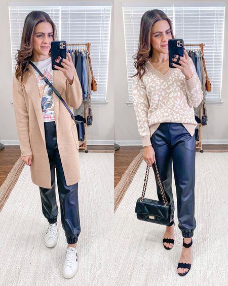 Fashion capsule week 3: ways to wear faux leather joggers: graphic tee, camel sweater blazer/coatigan, Veja sneakers, leopard sweater, black handbag  #LTKstyletip #LTKunder100 #LTKunder50