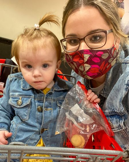 My target shopping buddy! She is such a good partner as long as that bag of wafers stay filled 😜 Both of our Jean jackets are on sale today!   .  Also, new blog post was launched last night. Check it out for my latest with skin care 💕  Click link in bio for details.  Have an amazing Saturday!   @liketoknow.it #liketkit http://liketk.it/37JRH