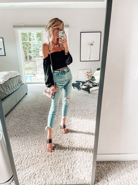 Date night outfit Chanel bag Chain shoulder bag Black off shoulder top Dressy top Off the shoulder top  Abercrombie style skinny high rise jeans   #LTKstyletip #LTKSale #LTKitbag