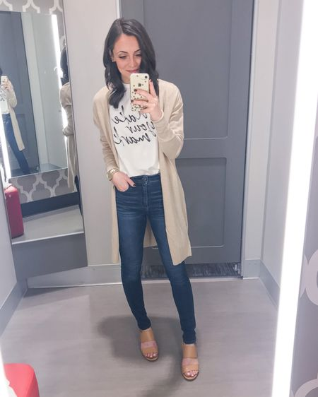 """My kind of comfy yet put together weekend look! This """"make your mark"""" script graphic tee is the perfect fun addition to your wardrobe and any outfit. Paired it with this classic camel/tan cardigan, Abercrombie jeans and nude sandals. Everything runs TTS.   Graphic Tee: XS Cardigan: XS Jeans: 24/00 short Heels: 6   http://liketk.it/2L2r6 #liketkit @liketoknow.it #LTKspring #LTKstyletip #LTKshoecrush"""