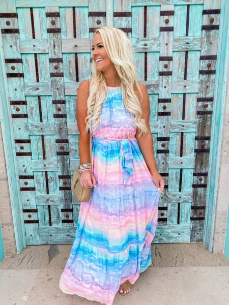 """Just found my new favorite maxi dress!!! 💞You guys this pastel watercolor dress is summertime perfection!! ☀️😍The colors and fit are SO good! I will be wearing this on repeat all summer long!!💯 Swipe over to see my little love bug! 🥰 I Absolutely adore my precious Chamberlain !! He has the sweetest heart always picking me flowers and giving me sweet little compliments! When I finished getting ready for dinner and came out in this dress he said ...""""mommy you look like a princess in that dress"""" 🥺💙 http://liketk.it/3gEh4 #liketkit @liketoknow.it #LTKtravel #LTKfamily #LTKstyletip"""