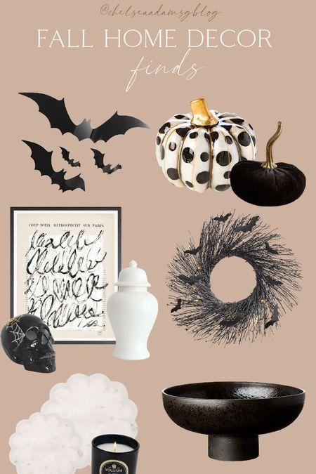 black fall decor halloween decor fall home bats black and white home decor Mackenzie childs pumpkins ginger jar skull Neutral wall art  #LTKunder50 #LTKunder100 #LTKhome