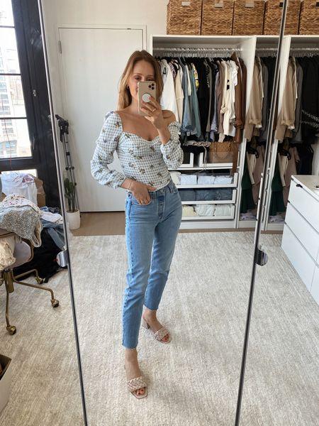 Levi's wedgie cut jeans (tts), reformation top (wearing a small), Marc fisher heels (tts)   #LTKSeasonal #LTKshoecrush