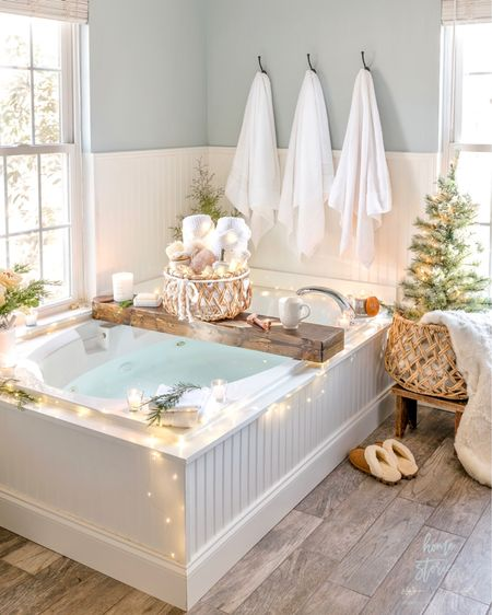 Pssst. A gift basket under the tree filled with beautiful spa and wellness gifts from @walmart is always appreciated. #ad But a gift basket in the bathroom complete with a drawn bath, favorite warm beverage, burning scented candles, plush new towels, cozy throw, and bath accessories is next level! (Feel free to tag your significant other as a subtle hint!) Today on the blog, I'm sharing my curated list of wellness, spa, and bath gift ideas suitable for all budgets. I think we can all agree that health and wellness are important each and every year, but this year in particular, gifts which promote relaxation, well-being, comfort, and serenity might be appreciated more than ever! You can shop all of my @walmart finds with a screenshot and the @liketoknow.it app or directly on the blog. http://liketk.it/33Cxy #liketkit #holidayhome