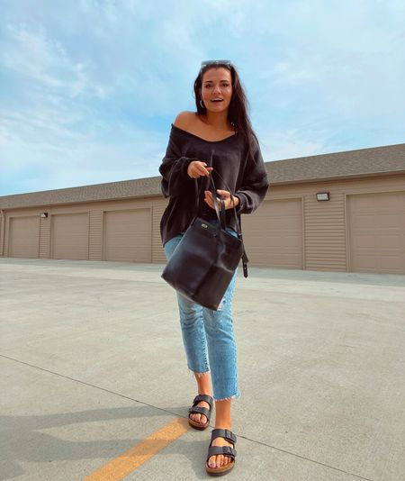 """All of my favorite things in one pic: my customized """"Ms. Chyna"""" bag, my favorite comfy cozy long sleeve, and my fav sandal 👏  #LTKunder100 #LTKSeasonal #LTKworkwear"""