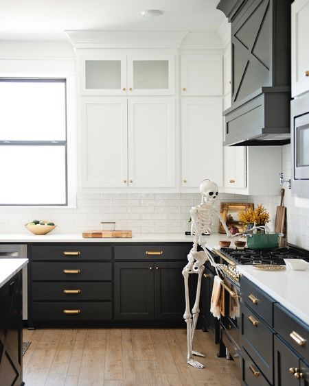This 5 foot skeleton with posing movable joints so cute for Halloween! My kids think he is so fun!  Home decor, living room decor, dining room, decor, entry decor, bedroom decor, bathroom decor, mud room decor, farmhouse decor, modern decor, boho decor, brass decor, black and white decor, farmhouse, boho, modern decor, black and white decor, cabinet hardware, brass hardware, target home, amazon home, Wayfair  kitchen decor, vinegar dispenser, range, appliances, kitchen appliance, Halloween Decor,  #LTKhome #LTKSeasonal #LTKfamily