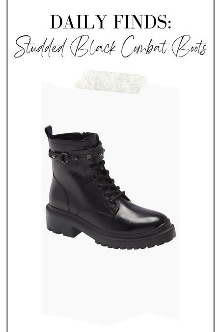 Studded black combat boots, black combat boots, black boots, fall boots, winter boots, boots under $100  #LTKsalealert #LTKstyletip #LTKshoecrush