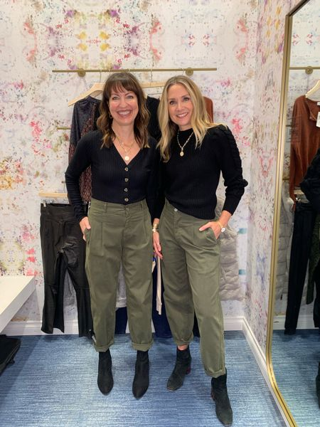 Styling the same pleated olive pants from @evereveoffocial This black bodysuit and a puffed sleeve sweater both look great with these pants! #lastseenwearing   Evereve, black bodysuit, Z Supply, black sweater, black puffed sleeve sweater, olive pants, pleated pants, high waisted pants, black and olive, career wear, work wear    #LTKunder50 #LTKstyletip #LTKworkwear