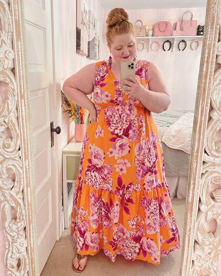 Tropical print summer maxi dress from Anthropologie🧡🌺  http://liketk.it/3hXrH #liketkit @liketoknow.it #LTKcurves #LTKtravel #LTKwedding