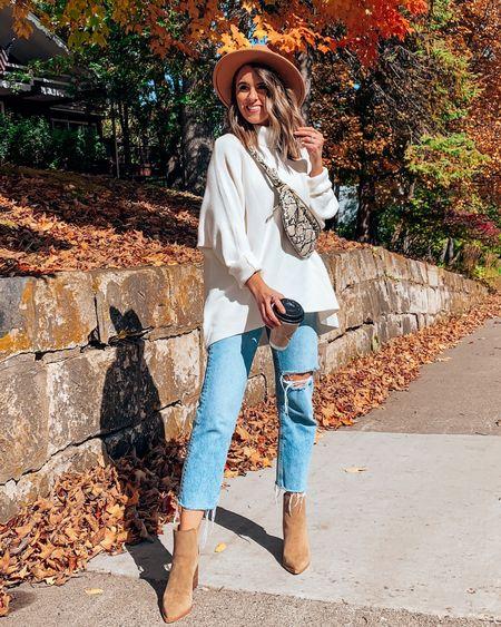Fall outfit idea 🍁😻 - Size down one in Amazon sweater, it's oversized!! Size up .5 in camel booties   #LTKSeasonal #LTKstyletip #LTKshoecrush