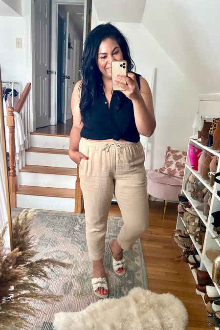 LOFT linen set is 40% off. XL in the top, L on the bottom #liketkit #LTKcurves #LTKunder50 #LTKstyletip  http://liketk.it/3hp51   @liketoknow.it   Loft, loftimist, size 12, size 14, midsize, mid size, vacation outfit, linen, summer outfit, summer dress, lightweight, plus size, espadrille, espadrilles, target, target fashion, target style