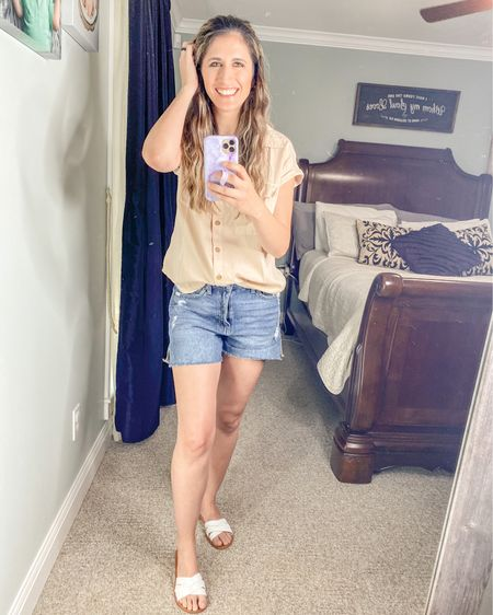 I may just live in this outfit all summer!!  Shorts pass all the momma check points!! And top is super soft and light!!  http://liketk.it/3fmwd @liketoknow.it #liketkit #LTKshoecrush #LTKstyletip #LTKunder50