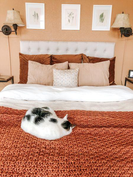 Fall bedroom decor. Cozy fall textiles for the bedroom. Layer up some warm tones for the bedroom.   #LTKunder50 #LTKSeasonal #LTKhome