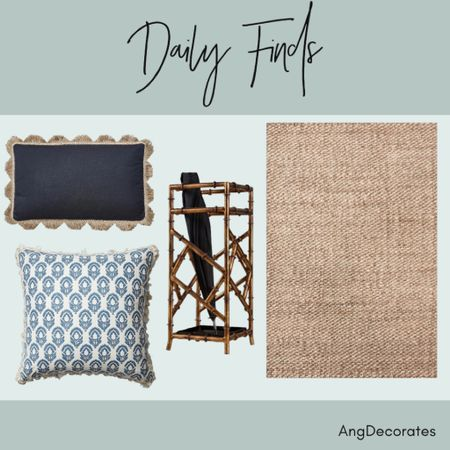 Daily Finds: a jute rug, a bamboo umbrella stand, and two blue throw pillows with fringe details  #LTKhome