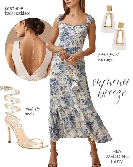 I've found the perfect summer #engagementstyle!   I love this dreamy #blueandwhite toile for a breezy summer engagement shoot, and pairing it with chic gold statement pieces - and an unexpected pearl drop back necklace - adds the perfect finishing details to this outfit for a summer date night, wedding guest look, or bridal shower chic!    #colormakesmehappy #engagementphotography #somethingblue #esession #couplesession #engagementshoot #engagementsession #engagementphotoshoot #backnecklace #engagementphotos #engagementphotographer #proposal #datenightdress #weddingguest #engagmentphotos #shootandshare #engagementdress #engagementday #futuremrs #vintagestyle #thenotebook #huffpostido #ltkwedding #summerdresses #occasiondress #weddingguestdress #weddingguests #weddingguestoutfit   #LTKshoecrush #LTKwedding