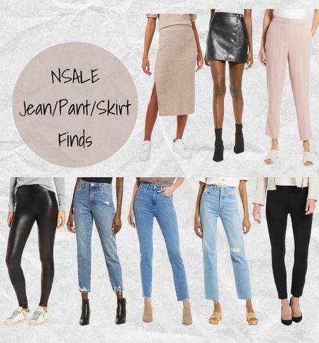 Nordstrom Anniversary Sale jean, pant, and skirt finds: tan skirt, black faux leather mini skirt, Halogen pink dress pants, Spanx faux leather leggings, BlankNYC jeans, Paige jeans, Levi jeans, and Spanx black workwear pants🖤 #nsale  #LTKsalealert #LTKstyletip #LTKworkwear