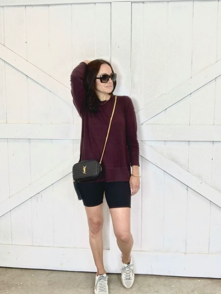 Wearing my favorite lounge top that I have in 3 colors.  Wearing the XS.  Runs TTS and comes in lots of colors.  Also in my fave black biker shorts that are under $50. Wearing XS. TTS. Also avail in burgundy and pale grey. My exact golden goose sneakers are sold out but linking a similar option.  http://liketk.it/3dXUm #liketkit @liketoknow.it #LTKfit Shop my daily looks by following me on the LIKEtoKNOW.it shopping app #LTKunder50 #LTKitbag