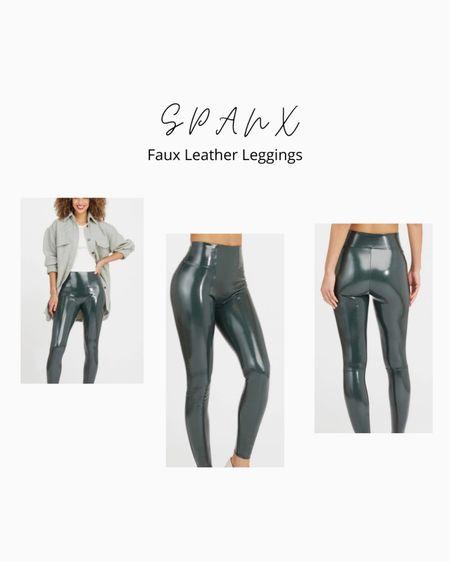 Spanx Faux Leather Leggings - deep Green #FallWear  #LTKSeasonal #LTKfit #LTKstyletip