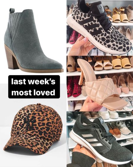Last week's most loved in shoes & accessories: so many good ones!! • my new teal colored Marc fisher booties, under $100 for the Nordstrom anniversary sale • my new leopard print yankee hat - I've been looking for this hat forever and I finally found it at American eagle! • leopard print black and white adidas sneakers • nude heeled quilted sandals from Amazon fashion • adidas luxe sneakers under $100 for the Nordstrom anniversary sale   #LTKshoecrush #LTKunder100 #LTKstyletip