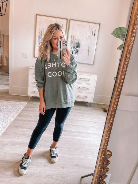 Wearing medium in sweatshirt (Alexa20 for discount) // size 4 leggings // sneakers tts // mom //   #LTKstyletip #LTKunder50 #LTKshoecrush