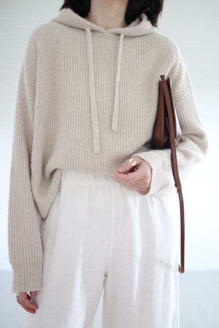 The best combo of comfy and chic is this cashmere hoodie. So soft and drapey but also cozy!  Hoodie - Jenni Kayne - Use LEE15 for 15% Off anytime.  Pants - Old  Ring - Old