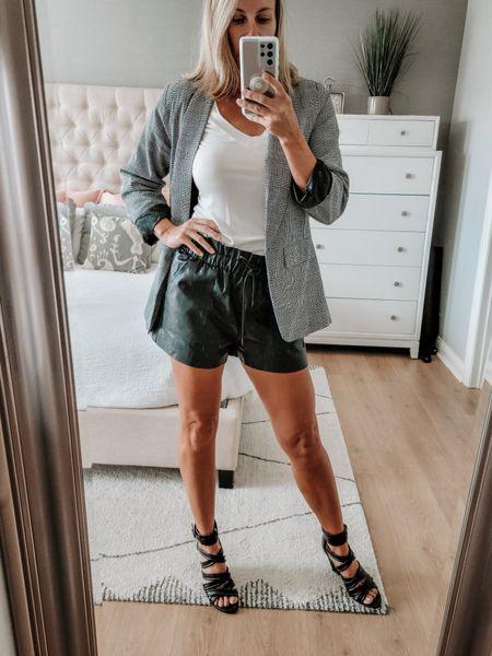 Faux leather shorts, Blazer, ankle booties http://liketk.it/3nOrC @liketoknow.it #liketkit #LTKSeasonal #LTKshoecrush #LTKunder50 #LTKstyletip