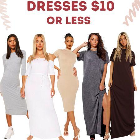 Cute dresses only $10 or less! Midi & Maxi dresses & t shirt dresses. Plus size available in some styles.    #LTKunder100 #LTKsalealert #LTKunder50