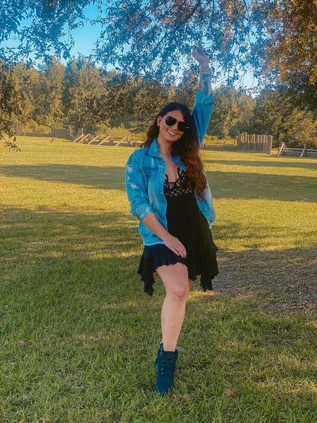 Little black dress! Jean jacket Black booties   #LTKSeasonal #LTKGiftGuide #LTKstyletip