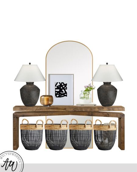 """The lamps are 30"""" tall and on major sale!   Console table styling, table decor McGee entryway design, home decor, empire shade lamp, storage basket, toy storage, candle, gallery frame, brass arch mirror, coffee table books, AD at 100, dipped vase, bedroom, living room, kitchen  #LTKhome"""