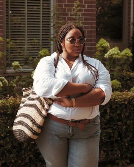 Plus size white shirt and casual denim look #plussize   #LTKstyletip #LTKcurves #LTKunder50