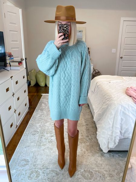 Cable knit sweater dress Amazon finds Mint sweater dress  Amazon fashion Size: Small   #LTKunder50 #LTKSeasonal #LTKHoliday