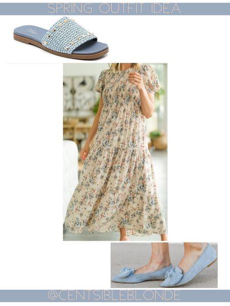 Spring outfit idea, shop the mint, spring dress, long dress, maxi dress, floral dress, blue sandals. Blue shoes.    http://liketk.it/3hFXX #liketkit @liketoknow.it #LTKunder100 #LTKstyletip #LTKshoecrush