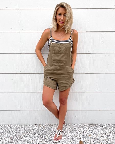 Casual summer outfit. Overalls size small. Cami size small. White Tory Burch miller sandals go up 1/2 size.   #liketkit http://liketk.it/3hIJU @liketoknow.it #LTKshoecrush #LTKunder50 #LTKsalealert #nordstrom #laurabeverlin