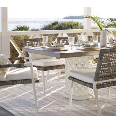 Beautiful outdoor dining table😍 - patio furniture set, outdoor furniture, summer home decor, Serena & lily, backyard furniture, white dining table, outdoor cooler  http://liketk.it/3iAjE #liketkit @liketoknow.it   #LTKhome @liketoknow.it.home