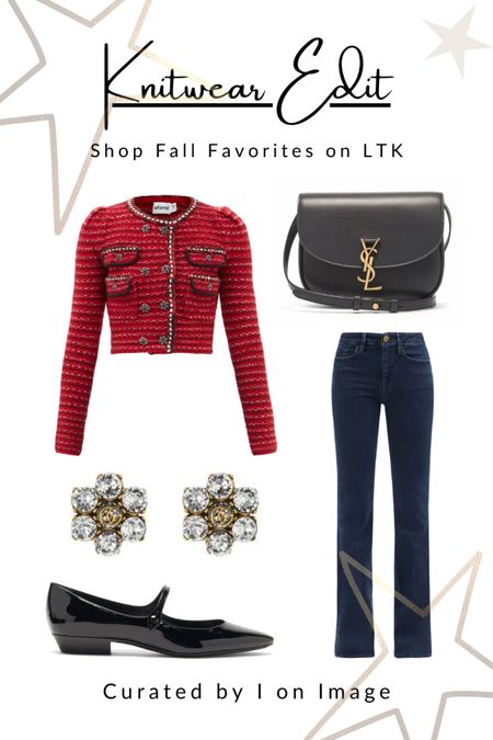 Parisian chic for autumn: Self-Portrait red bouclé-knit cropped cardigan with crystal-embellished buttons and puffed sleeve. Styled with  Frame bootcut jeans, Saint Laurent patent-leather Mary Jane flats and Kaia medium cross-body bag with YSL logo and Gucci double G floral crystal clip on earrings ❤️   Knitted cardigan, cropped cardigan, crystal buttons, Chanel style, feminine style, elegant style, fall fashion, autumn fashion, AW21 #LTKfashion #LTKeurope   #LTKworkwear #LTKitbag #LTKshoecrush
