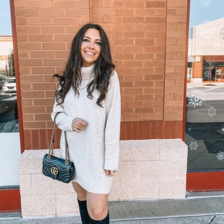 When your whole outfit is on sale 🤩🙌  My turtleneck sweater dress is from last year (throw back to my birthday post 🥳) but this year's version is almost identical and 40% off today! And my BOOTS! 55% off in a few sizes and 30% in almost every other! I got them last Christmas and they're definitely a go-to that holds up well!   #LTKunder100 #LTKsalealert #LTKshoecrush