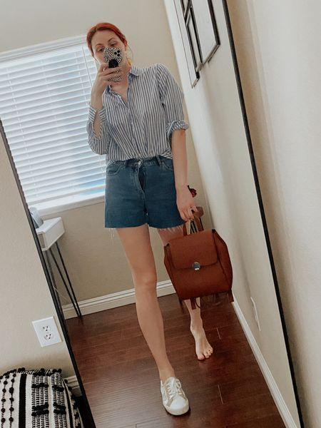 Trying this outfit out w/ the sneakers or one of them lol to see how it looks. Striped button down shirt, mom denim shorts, brown backpack.   #LTKSeasonal #LTKtravel #LTKDay