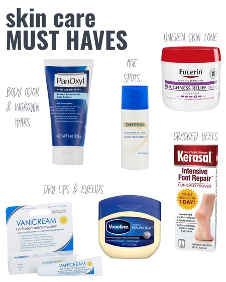 #Ad These are my skin care MUST HAVES & you can find them all @walmart These products have ingredients that many might overlook, but can be incredibly beneficial for your skin.  1. Benzoyl peroxide in Panoxyl wash is more than just an acne wash.  It can help control body odor, reduce ingrown hair formation, & control breakouts of folliculitis.  2. Adapalene in Differin Gel not only helps clear acne, but can also improve hyperpigmentation and age spots.  3.  Urea creams, like Eucerin & Kerasal, help to soften dry scaley skin, improve stubborn discoloration on the elbows & knees, and smooth out calluses & cracked heels.  4.  Vanicream lip SPF not only protects your lips from damaging UV rays, but also keeps them hydrated.  It can be used on delicate eyelid skin as well!  And last but not least, 5) Vaseline petrolatum.  What can it not do?  Great for chapped lips, dry/flakey eyelids, cuts & scrapes, and to reduce chaffing.      #LTKbeauty #LTKSeasonal #LTKunder50