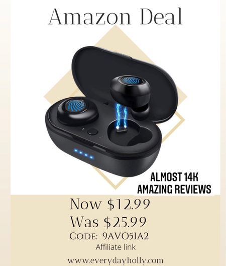 Amazon deal! 🎁🎄 Almost 14,000 amazing reviews!  Code: 9AVO5IA2 Wireless Earbuds,Super Fast Charge,Bluetooth 5.0 in-Ear Stereo Headphones with USB-C Charging Case, 24H Playtime,Built-in Mic for Clear Calls,Touch-Control,IPX7 Waterproof Resistant Design for Sports ⚽️   Gift idea •  Gifts for teens • gifts for teen girls • gifts for teen boys • gifts for him   #LTKGiftGuide #LTKsalealert #LTKunder50