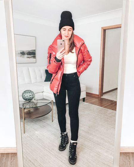 I love my red puffer jacket.  This is the warmest puffer jacket I have owned.  As far as sizing, I went up to a medium.  It runs slightly small. Also, my off white v-neck sweater is 60% off.   As I have mentioned before, these are my favorite black skinny jeans and black hiking boots. #liketkit  . . SHOP MY LOOK: 1️⃣ Use this link: http://liketk.it/34feB  2️⃣ Download and follow me (@dailystylefinds) on the FREE @liketoknow.it app 3️⃣ Screenshot this photo 4️⃣ Click the link in my profile . . #LTKunder25 #over40fashion #fashionover40 #wintercoats #redpufferjacket #outfitinspo #affordablefashion #affordablestyle #shopbop #hikingboots #blackjeans #OOTD #WIW